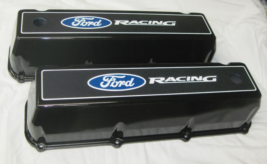 Big block Ford Racing valve covers in Crystal Blue, Polar White, Ironsides II, Wetstone Black and Clear Vision