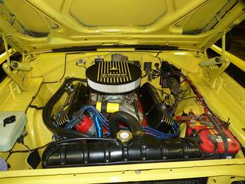 James' Road Runner's engine bay with PSC air cleaner, valve covers and master cylinder cover