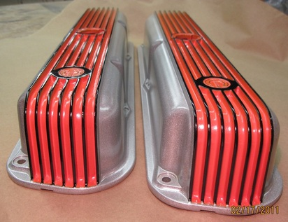One-off Mopar Cal Custom valve covers in Alien Silver, Hemi Orange and Ink Black
