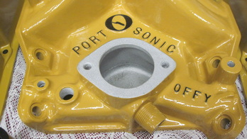Small block Mopar Offenhauser PortOSonic intake manifold in Corsair Gold and Silk Satin Black