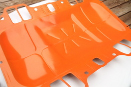 Big block Mopar valley pan in Hemi Orange