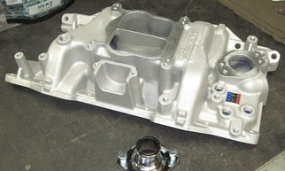 New Mopar Edelbrock intake manifold and chrome water neck