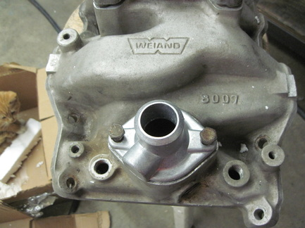 H. Gherardini's small block Mopar Weiand intake manifold and water neck on arrival