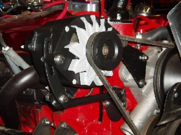 Valued customer Joe E's alternator and brackets in Silk Satin Black and Blasted Steel