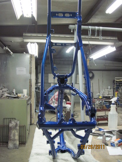 Honda XR200 frame in Blue Odyssey over Super Chrome