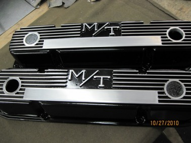 Custom big block Mopar Mickey Thompson valve covers in Ink Black