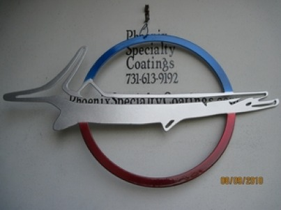 Custom 2-sided Barracuda emblem sign in Blue Odyssey, Alien Silver and Wilder Red