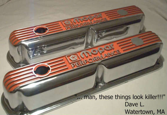Custom polished small block Mopar Performance valve covers in Hemi Orange