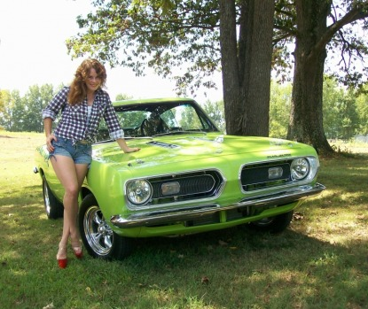 Leanna ~ The CudaChick, with her 1968 Plymouth Barracuda