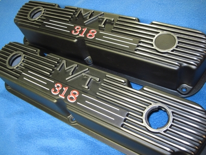 Custom one-off Mopar Mickey Thompson valve covers in Silk Satin Black with custom 318 callout decals prepared by Ace of Signs, Selinsgrove, Pennsylvania
