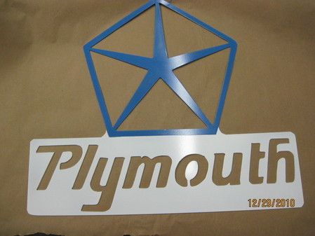 Custom Plymouth sign in Skiers Blue and Polar White