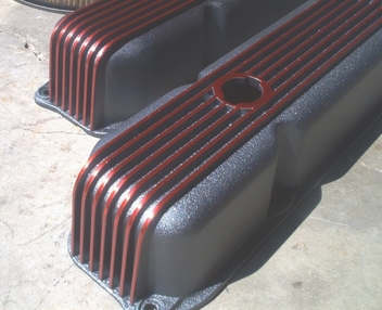 Cal Custom valve covers in Wilder Red and Ironsides II