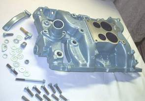 Pontiac intake manifold, pcv bracket and hardware in Poncho Blue