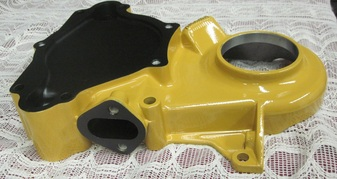 Close up of small block Mopar timing cover in Corsair Gold and Silk Satin Black