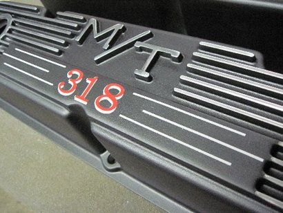 Small block Mopar M/T valve cover in Silk Satin Black with custom decal